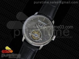 Jules Tourbillon SS Big Date Gray Dial on Black Leather Strap
