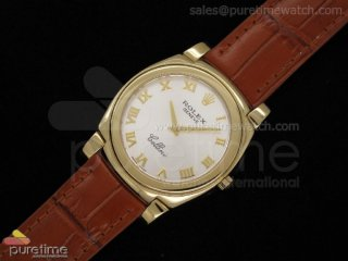 Cellini YG White Dial Roman Markers Brown Leather Strap Swiss Quartz