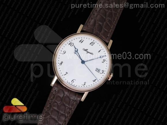 Classique Auto 5177 RG MK 1:1 Best Edition White Dial on Brown Leather Strap MIYOTA 9015