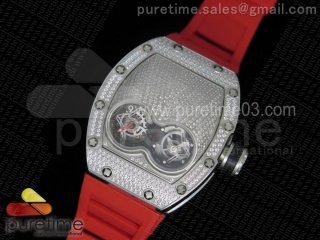 RM053 SS Fake Tourbillon Full Paved Diamonds Skeleton Dial on Red Rubber Strap A2824