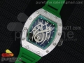RM 19-01 Tourbillon SS Full Paved Diamonds Case Skeleton Spider Dial on Green Rubber Strap 6T51