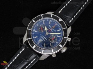 SuperOcean Heritage Chrono 125th Limited Edition SS Blue/Black Dial on Black Leather Strap