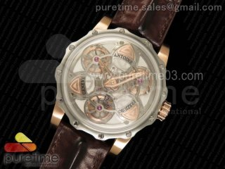 Tourbillon of Tourbillons SS/RG Skeleton Dial on Brown Leather Strap Miyota Movement
