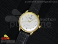Senator Automatic YG White Dial on Black Leather Strap A3959