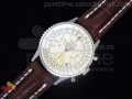 Navitimer Cosmonaute SS White Dial on Brown Leather Strap A7750