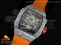 RM027-2 White Carbon Fiber Case Skeleton Dial on Orange Nylon Strap 6T51