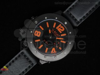 U42 PVD Black Dial Orange Mark on Black Leather Strap 52mm A6497