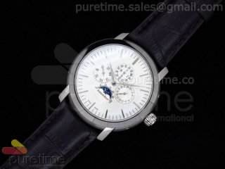 Jules Audemars Calender SS White Dial on Black Leather Strap A23J