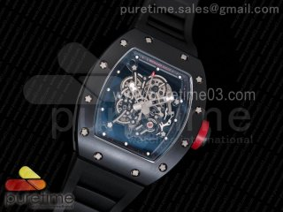 RM055 Real Ceramic Case KVF Best Edition Skeleton Dial Red on Black Rubber Strap MIYOTA8215