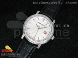 Jules Audemars SS White Dial Style 2 Diamonds Bezel on Black Leather Strap MIYOTA9015