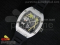 RM 026 SS Full Paved Diamonds Panda Dial on Black Rubber Strap 6T51