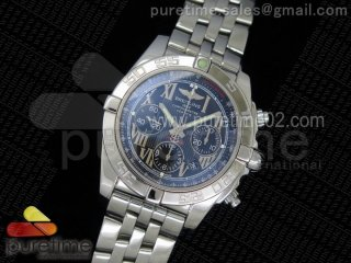 Chronomat B01 SS Black Textured Dial on SS Bracelet A7750