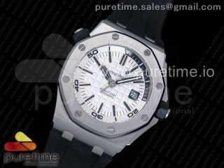Royal Oak Offshore Diver 15710 JF 1:1 Best Edition White Dial on Black Rubber Strap A3120 V9 (Free XS Strap)