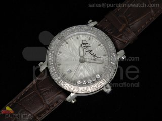Happy Sport Round SS White Textured Dial on Brown Leather Strap RONDA Quartz