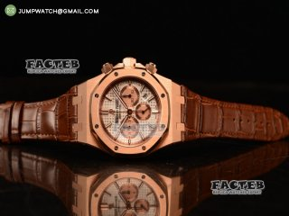 Audemars Piguet Royal Oak Chronograph Swiss Valjoux 7750 Rose Gold Case with Black Leather Strap White Dial and Gold Three Subdials 1:1 Original EF