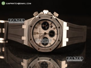 Royal Oak Chronograph White Dial With Blue Sub Dial Strap Swiss Valjoux 7750 26331ST.OO.1220ST.01