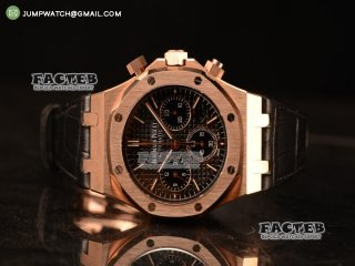 Royal Oak Chrono Rose Gold Case With Black Dial Clone AP3126 Automatic Black Leather