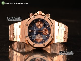 Royal Oak Chrono Full Rose Gold With Blue Dial 7750 Automatic 26331OR.OO.1220OR.01