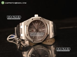 Audemars Piguet Royal Oak 41mm Grey Dial Automatic Clone Ap 3120 Movement Black Leather 15500ST.OO.1220ST.02 JH
