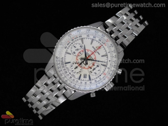 Montbrillant 01 Chronograph Limited Edition SS White Stick Dial on SS Bracelet