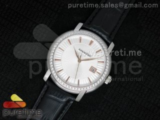 Jules Audemars SS White Dial Style 3 Diamonds Bezel on Black Leather Strap MIYOTA9015