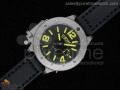U42 Ti Black Dial Yellow Mark on Black Leather Strap 52mm A6497