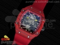 RM027-2 Red Carbon Fiber Case Skeleton Dial on Red Nylon Strap 6T51