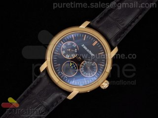 Jules Audemars Moonphase Calender RG Black Dial on Black Leather Strap A23J