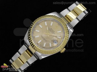 Date Just II 41mm SS/YG Gold Dial Stick Marker SS/YG Oyster Bracelet
