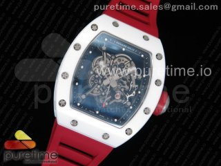 RM055 Real All White Ceramic KVF Best Edition Skeleton Dial Red on Red Rubber Strap MIYOTA8215