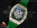 RM 19-01 Tourbillon RG Full Paved Diamonds Case Skeleton Spider Dial on Green Rubber Strap 6T51