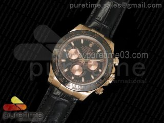 Daytona 116515 Noob 1:1 Best Edition Black/RG Dial on Black Leather Strap A7750