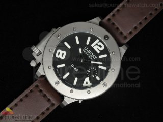 U42 SS Black Dial White Mark on Brown Leather Strap 52mm A6497