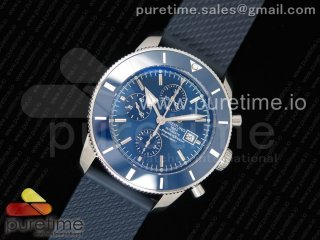 SuperOcean Heritage ii 46mm Chronograph SS Blue Dial Blue Ceramic Bezel on Blue Rubber Strap A7750
