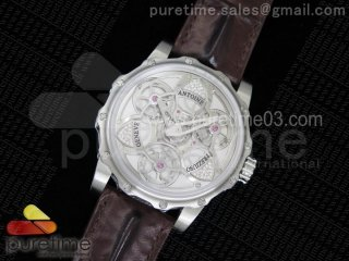 Tourbillon of Tourbillons SS Skeleton Dial on Brown Leather Strap A23J