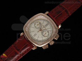 Ladies Complicated Watches 7071 RG Quartz White on Red Croco Strap
