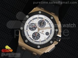 Royal Oak Offshore 44mm RG Lite White Dial on Black Rubber Strap A3126