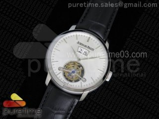 Jules Tourbillon SS Big Date White Dial on Black Leather Strap