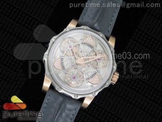 Tourbillon of Tourbillons RG Skeleton Dial on Gray Leather Strap A23J