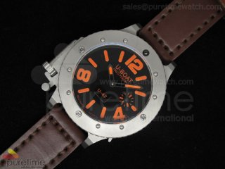 U42 SS Black Dial Orange Mark on Brown Leather Strap 52mm A6497