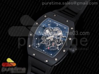 RM055 Real Ceramic Case KVF Best Edition Skeleton Dial Silver Hands on Black Rubber Strap MIYOTA8215