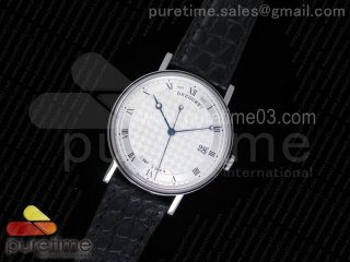 Classique Auto 5177 SS MK 1:1 Best Edition White Plaid Textured Dial on Black Leather Strap MIYOTA 9015