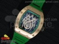 RM 19-01 Tourbillon RG Skeleton Spider Dial on Green Rubber Strap 6T51