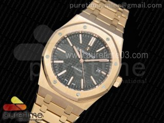 Royal Oak 41mm 15400 RG JF 1:1 Best Edition Black Textured Dial on RG Bracelet A3120 V3