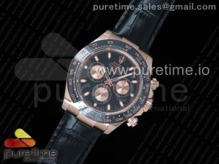 Daytona 116515 Noob 1:1 Best Edition Black/RG Dial on Black Leather Strap SA4130