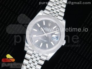 DateJust 41 126300 Noob 1:1 Best Edition Polished Bezel Gray Dial Stick Markers on SS Jubilee Bracelet A3235