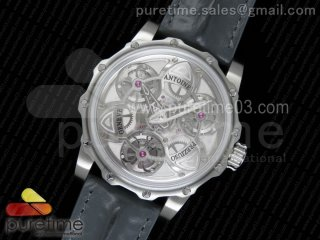Tourbillon of Tourbillons SS Skeleton Dial on Gray Leather Strap Miyota Movement
