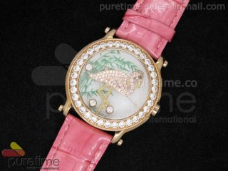 Happy Sports 150th Anniversary Animal World 42mm RG Koi Dial on Pink Leather Strap Ronda Quartz