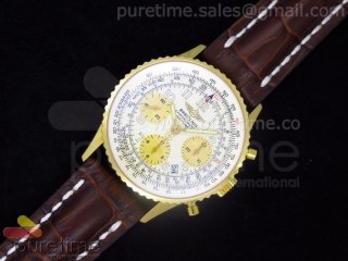 Navitimer Cosmonaute YG White Dial with Roman Numbers on Brown Leather Strap A7750