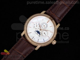 Jules Audemars Calender RG White Dial on Brown Leather Strap A23J